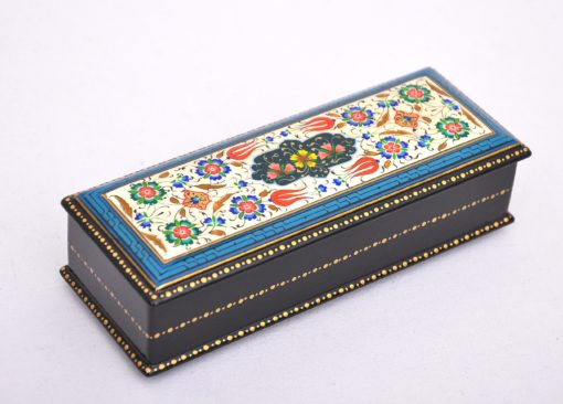 Lacquer Wood Jewelry Box, Wood pen box with ornament