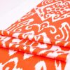 Ikat Fabric Orange Handloom Ikat Silk Textile