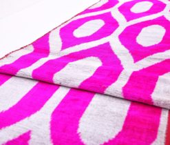 Pink Diamond Ikat Velvet Fabric, Velvet Ikat Design Ikat Fabric