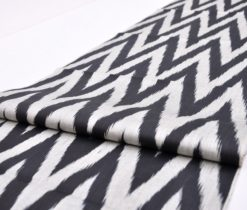 Black White Chevron Ikat Silk Fabric
