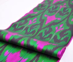 Green Soft Silk Ikat Fabric Yardage