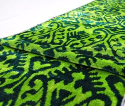 Overdyed Green Velvet Ikat Fabric, Green Velvet fabric