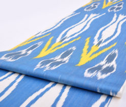 Blue Tulip Design Ikat Cotton Fabric, Drapery Fabric, Upholstery Fabric, Ikat Fabric, Fabric By The Yard, Slip Cover Fabric, Duvet Cover Fabric, Pillow Fabric