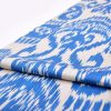 Blue Ikat Organic Cotton Fabric , Blue Ikat Drapery Fabric