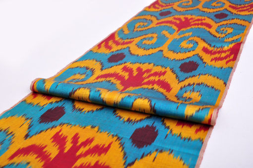 Handloom Colorful Genuine Ikat Fabric , fabric by the yard blue yellow red