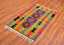 Flat Weave Hand Woven Natural Wool Area Kilim