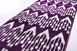Antique style Ikat Dark purple fabric, Velvet fabric, Uzbek Velvet ikat fabric, Upholstery fabric