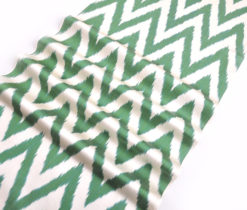 Green Ikat Chevron Fabric Yard