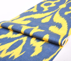 Yellow Blue Ikat Boho Fabric