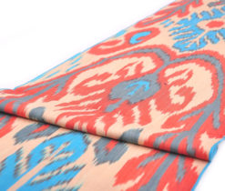Organic Cotton Red Blue Fabric Yard