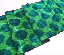 Overdyed Blue Polka Dots Green Velvet
