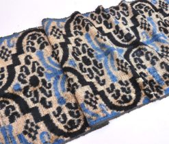 Velvet Designer Fabric Blue Black Grey