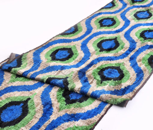 Green eyes Silk Velvet ikat fabric