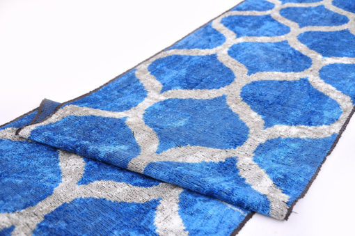 Blue Velvet Ikat Fabric Home Furnishing