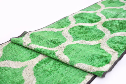 Green Handwoven Ikat Velvet Fabric