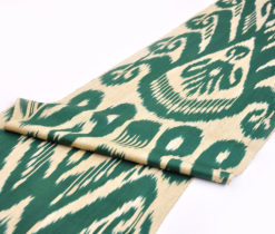 Dark Green Tan Ikat Upholstery Fabric