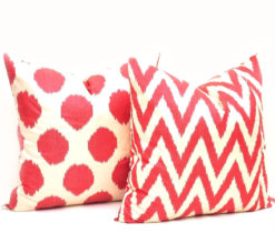 Red Chevron Polka Dot Pillow Pairs
