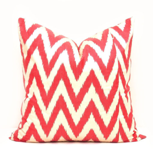 Red Ikat Chevron Accent Pillow Cover