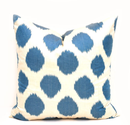 Blue Decorative Pillow Polka Dot Ikat