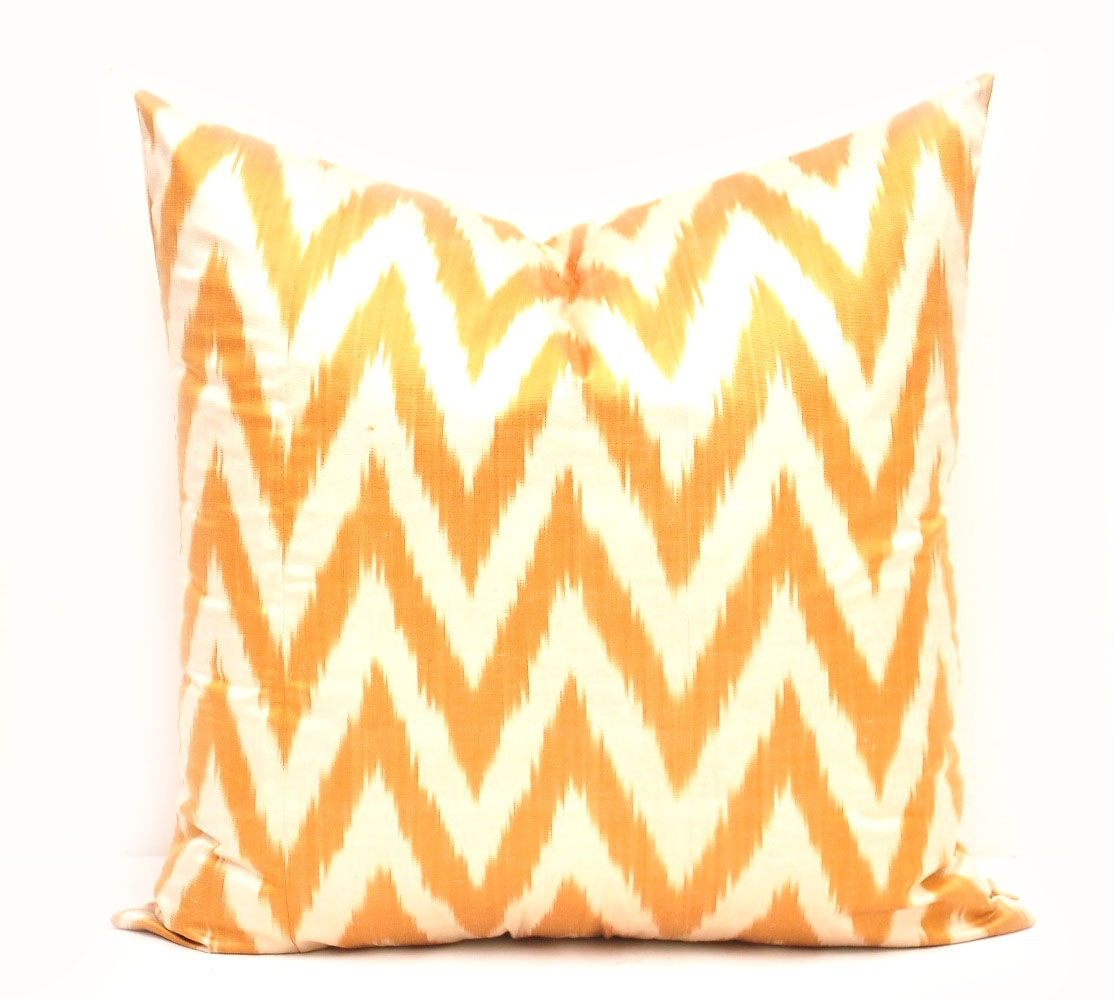 Yellow Chevron Decorative Pillow Cover - Ikat Pillow