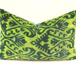 Green Velvet Throw Sofa Pillow