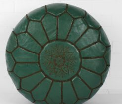 Dark Green Moroccan Natural Leather Pouf