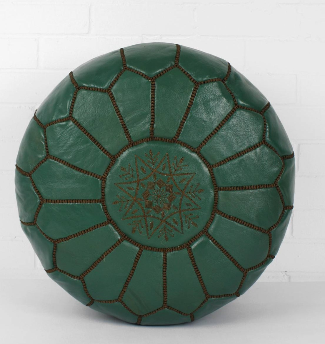 Dark Green Moroccan Natural Leather Pouf Wholesale