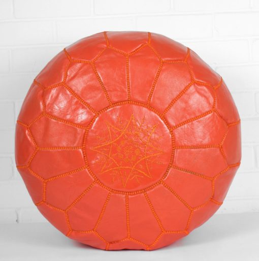 Red Ottoman Pouf Moroccan Leather