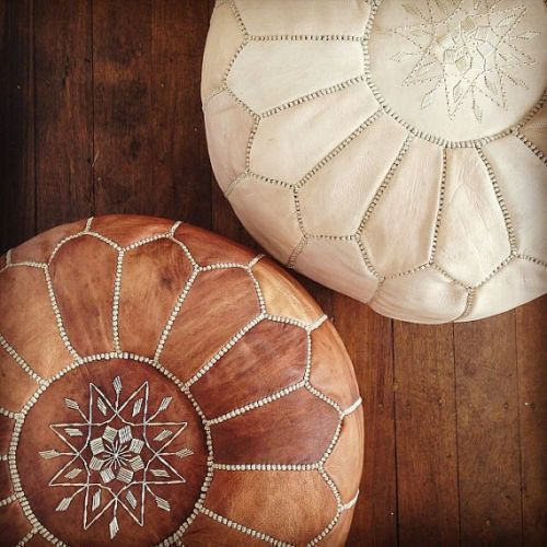 Set Of Two Moroccan Ottoman Pouf