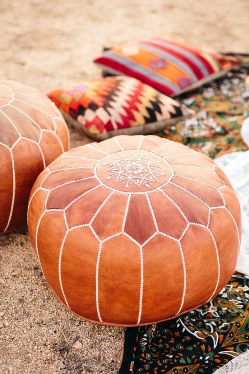 High Quality Brown Leather Moroccan Pouf