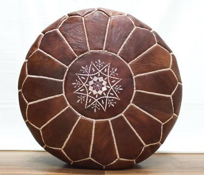 Authentic Moroccan Pouffe Ottoman High Quality Brown Leather Moroccan Pouf