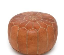 High Quality Brown Leather Moroccan Pouf, Authentic Moroccan Pouffe Ottoman