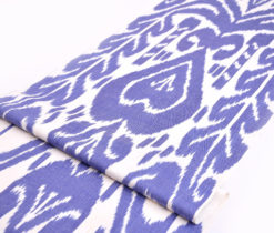 Blue Ikat Cotton Upholstery Fabric