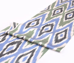 Olive Composed Blue Ikat Fabric