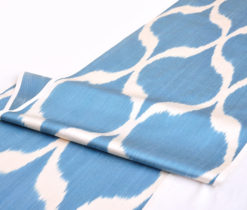 Blue Ikat Diamonds Design Fabric Width 20 inch