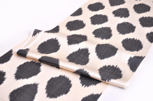Black White Polka Dot Ikat Fabric