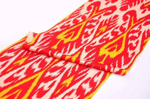 Red Ikat Cotton Throw Fabric