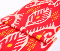 Red Ikat Fabric Yard Upholstery
