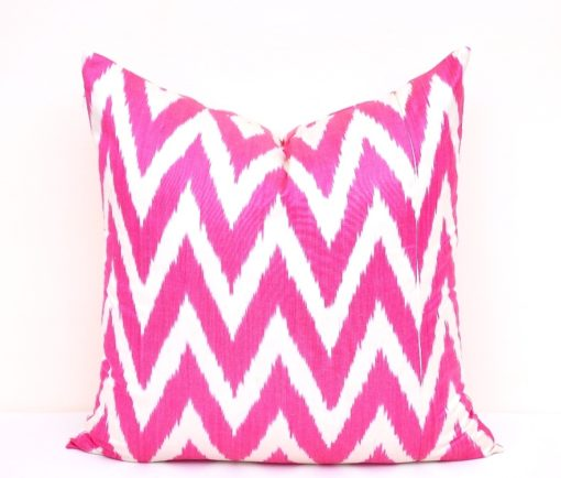 Hot Pink Chevron Pillow Cover