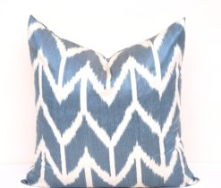 Unique Ikat Blue Throw Pillow