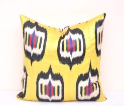 Ikat Diamond Yellow Throw Pillow