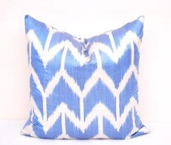 Boho Chic Blue Ikat Throw Pillow