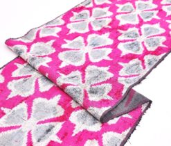 Pink Gray Handloom Fabric Yards