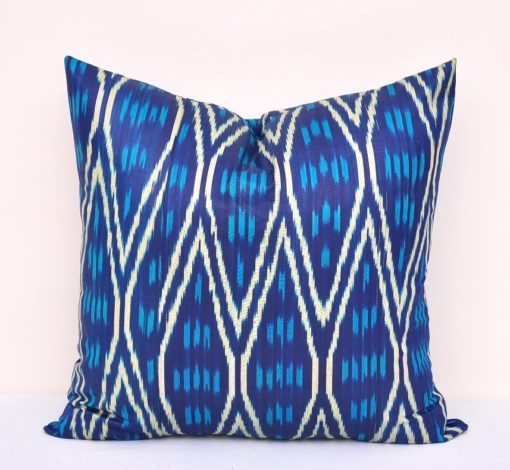 Dark Blue Cozy Ikat Pillow