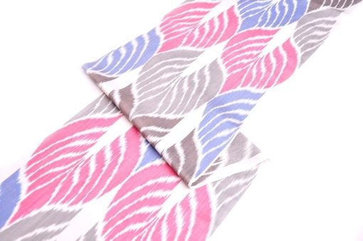 Pink Blue Gray Leaf Design Ikat Fabric, pink ikat fabric