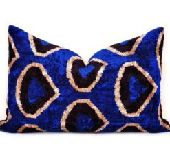 Blue Decorative Silk Velvet Throw Pillow