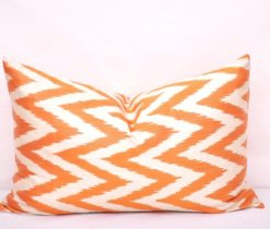 Orange Chevron Silk Ikat Lumbar Pillow