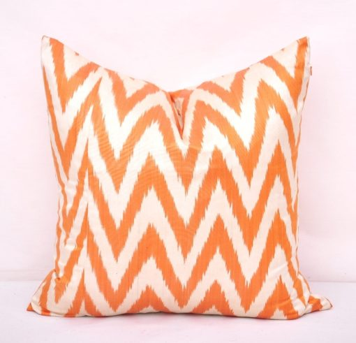 Orange Chevron Pattern Throw Pillow Case