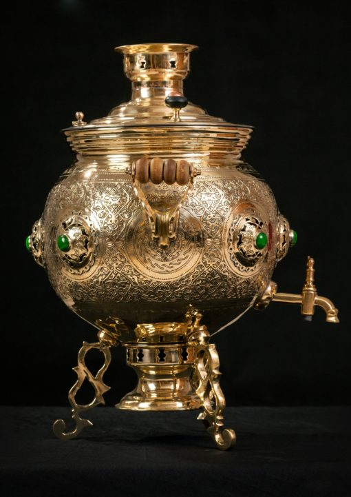 Hand Embossed Brass Tea Samovar