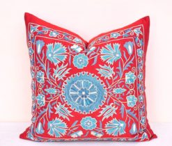 Red Suzani Embroidered Pillow Cover